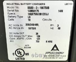 BBI BB80-3-180750B 36V 18 Cell Forklift Battery Charger 208/240/480V 3PH #3655
