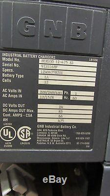 Gnb Fer100 12-475-s1 24v Forklift Battery Charger 208/240/480v 3ph 475 Amp Hour