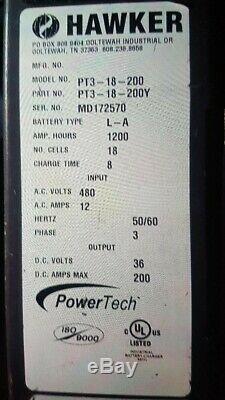 Chariot Élévateur Hawker Powertech Hf Chargeur Pt3-18-200 3 Phases 1200 Ah