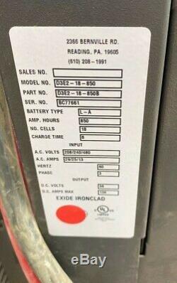 Exide Profondeur 36 Volt Chariot Élévateur Industriel Chargeur De Batterie D3e2-18-850