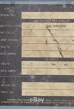 Hobart 1050c3-18, 18 Cellules Chariot Chargeur De Batterie