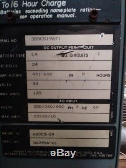 Hobart Accu Chargeur # 600c3-240 Chargeur De Batterie Industriel Chariot Élévateur Chargeur